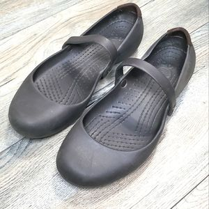Crocs Alice Work Flat Brown Mary Jane shoes 8